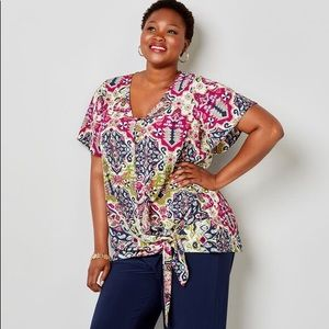 TAPESTRY PRINT SIDE TIE TOP WITH CAMISOLE 26w 28w